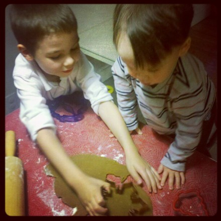 making gingerbread cookies with the big brother