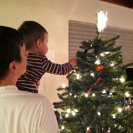 Ian hanging an ornament